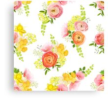 Spring bouquets of rose, ranunculus, narcissus, peony seamless vector pattern Canvas Print