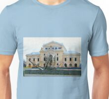 A digital painting of TheTheodor Costescu Cultural Palace in Romania Unisex T-Shirt