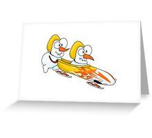 Snowmen's bobsleigh Greeting Card