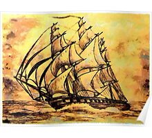 Cutty Sark the Clipper Ship in sepia Poster