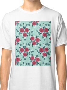 Chrysanthemum // mint navy red white by andrea lauren  Classic T-Shirt
