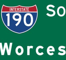Worcester, Road Sign, Massachusetts Sticker