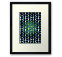 Precious Stones Mosaic 1 - Digital illustration of original hand rendered precious stones. Green gradient on black background. Framed Print