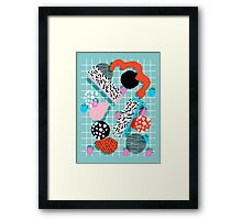 The 411 - abstract grid 1980s style throwback retro pattern dots swirl blob paint pop art Framed Print