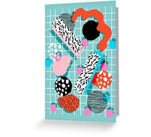 The 411 - abstract grid 1980s style throwback retro pattern dots swirl blob paint pop art Greeting Card