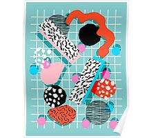 The 411 - abstract grid 1980s style throwback retro pattern dots swirl blob paint pop art Poster