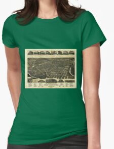 Aerial View of Fort Worth Tarrant County Texas (1886) Womens Fitted T-Shirt