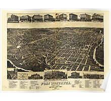 Aerial View of Fort Worth Tarrant County Texas (1886) Poster