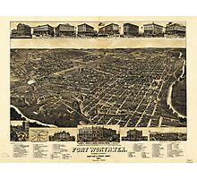 Aerial View of Fort Worth Tarrant County Texas (1886) Photographic Print