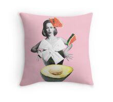 Roly-Poly Avocado Throw Pillow