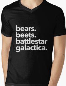 Bears. Beets. Battlestar Galactica. (White Variant) Mens V-Neck T-Shirt