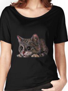 Cute Gray Kitten Drawing Animal Art Women's Relaxed Fit T-Shirt