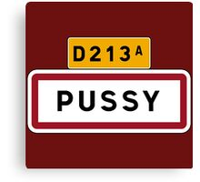 Pussy, Road Sign, France Canvas Print