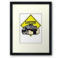 caution: mad cop on board - mad max Framed Print