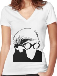 Hockney - vacant expression Women's Fitted V-Neck T-Shirt