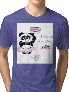 Panda Girl ballet dancer,hand drawn Tri-blend T-Shirt