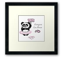Panda Girl ballet dancer,hand drawn Framed Print