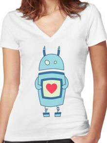 Cute Clumsy Robot With Heart Women's Fitted V-Neck T-Shirt