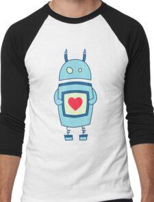 Cute Clumsy Robot With Heart Men's Baseball ¾ T-Shirt
