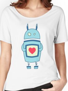 Cute Clumsy Robot With Heart Women's Relaxed Fit T-Shirt