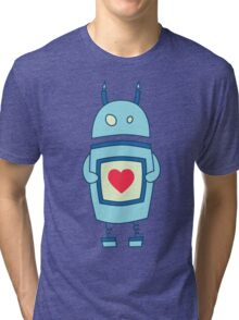 Cute Clumsy Robot With Heart Tri-blend T-Shirt