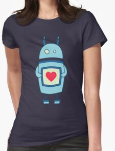 Cute Clumsy Robot With Heart Womens T-Shirt