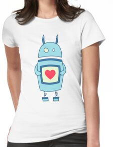 Cute Clumsy Robot With Heart Womens Fitted T-Shirt