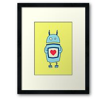 Cute Clumsy Robot With Heart Framed Print