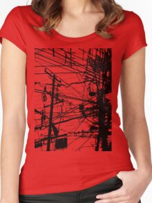 telephone poles Women's Fitted Scoop T-Shirt