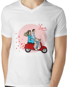 Lovers on a scooter Mens V-Neck T-Shirt