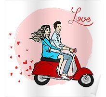 Lovers on a scooter Poster