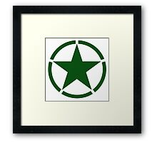 ARMY, Army Star & Circle, Roundel, Jeep, War, WWII, America, American, USA, in GREEN Framed Print