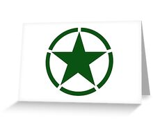 ARMY, Army Star & Circle, Roundel, Jeep, War, WWII, America, American, USA, in GREEN Greeting Card