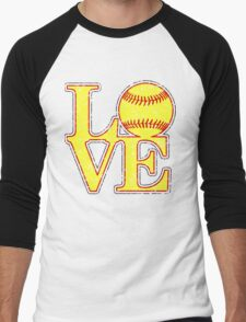 Love Softball Classic Distressed Digital Art Men's Baseball ¾ T-Shirt