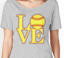 Love Softball Classic Distressed Digital Art Women's Relaxed Fit T-Shirt