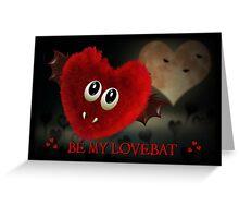 LOVEBAT GOTH BAT VALENTINE'S DAY CARD - HEART, LOVE, GOTHIC, MOON Greeting Card