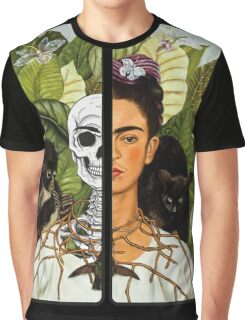 Frida Kahlo - Self Portrait (1940) Skeleton Version Graphic T-Shirt