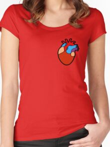 Anatomical Heart Pattern Women's Fitted Scoop T-Shirt