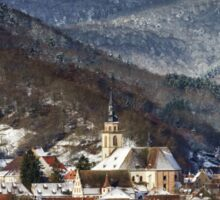 Small french village over the snow, Andlau landscape view Sticker