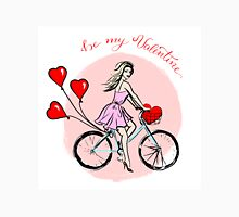 Woman driving bike with balloons in shape of hearts Unisex T-Shirt