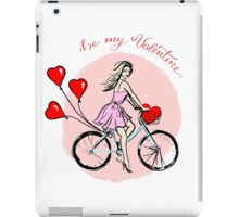 Woman driving bike with balloons in shape of hearts iPad Case/Skin