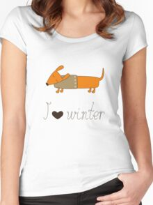 Winter dachshund Women's Fitted Scoop T-Shirt