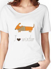 Winter dachshund Women's Relaxed Fit T-Shirt