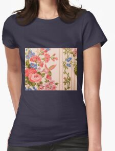 Background floral pattern with humming bird, retro  Womens T-Shirt