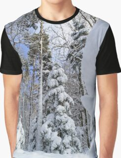 Beautiful snowy forest landscape, season concept, Alsace, France Graphic T-Shirt