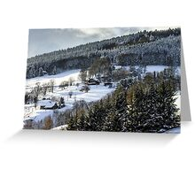 Beautiful slope of hill with winter trees in snow, season and weater concept Greeting Card