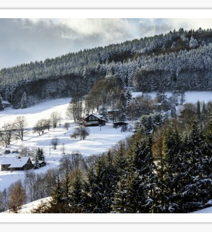 Beautiful slope of hill with winter trees in snow, season and weater concept Sticker