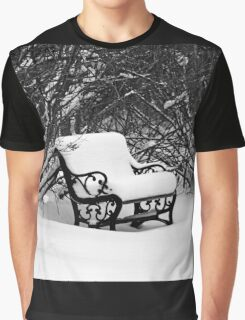 Snowy Bench In Black And White Graphic T-Shirt
