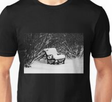 Snowy Bench In Black And White Unisex T-Shirt