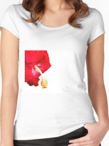 Red hibiscus flower on white. Women's Fitted Scoop T-Shirt